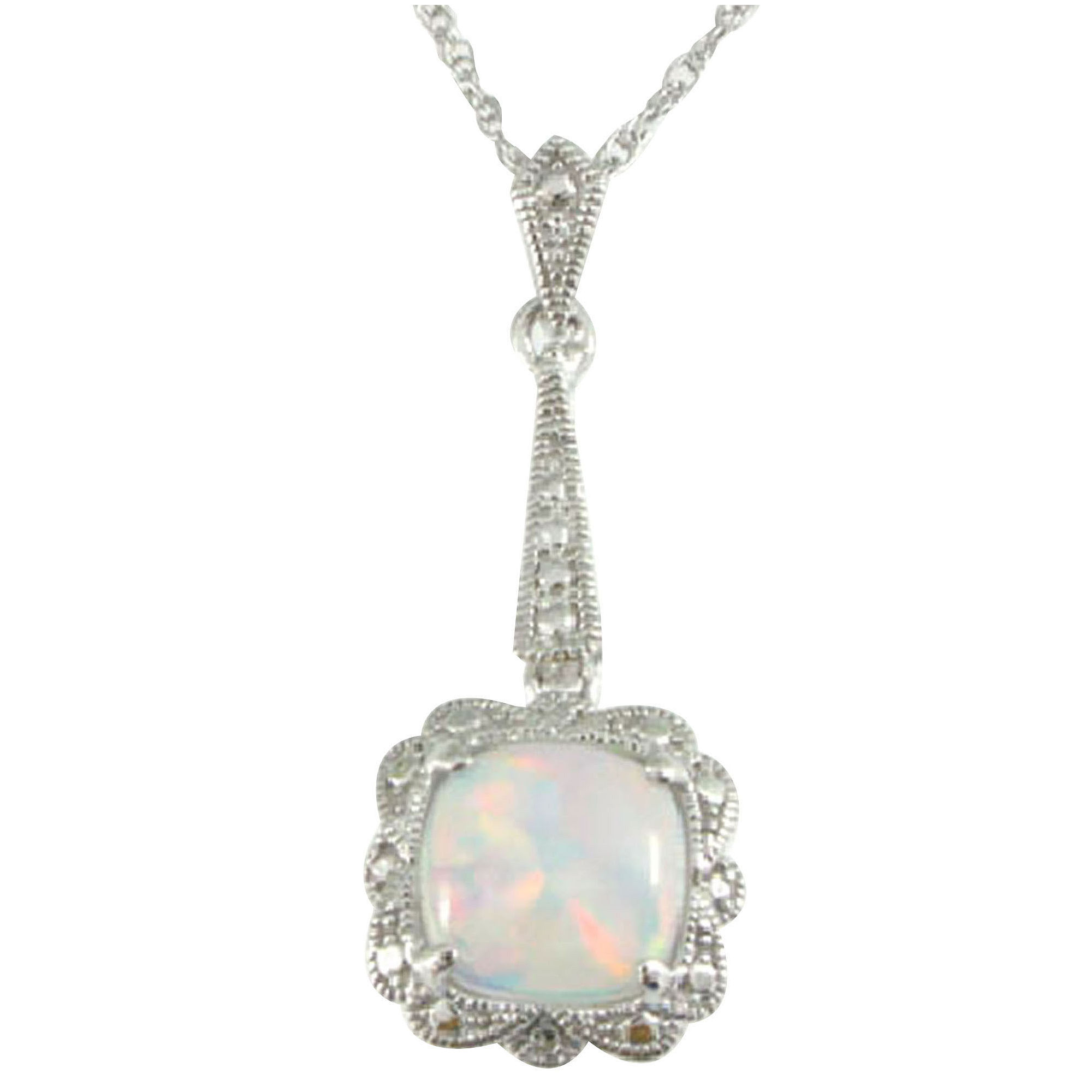 Vintage-Look Lab-Created Opal Pendant Necklace