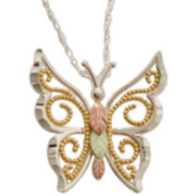 Sterling Silver & Black Hills Gold® Butterfly Pendant Necklace