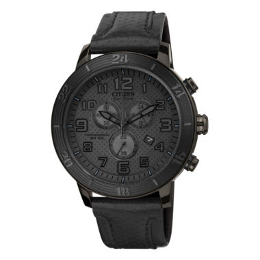 jcpenney.com | Drive from Citizen® Eco-Drive® Mens Black Leather-Strap Chronograph Watch AT2205-01E