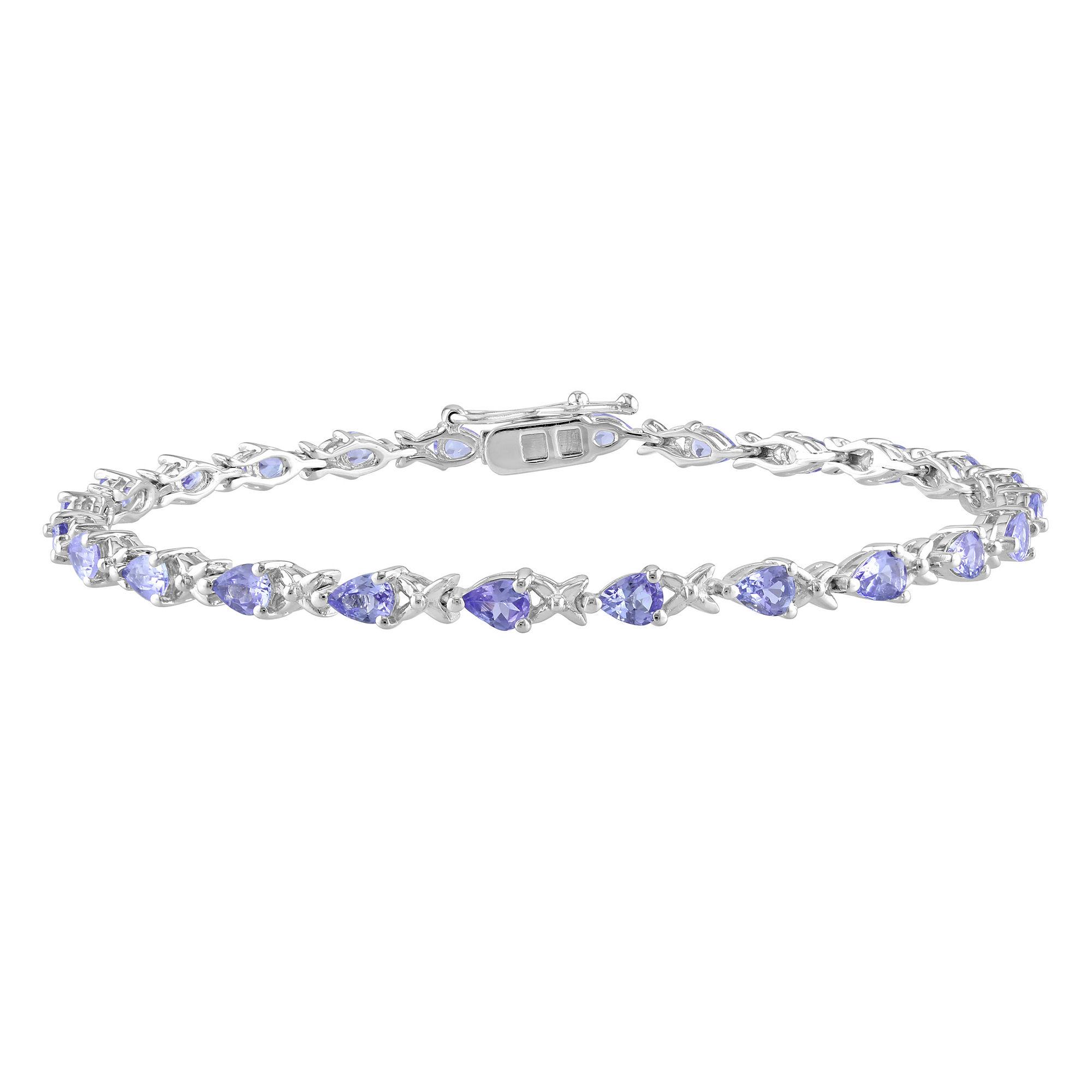 Sterling Silver Tanzanite Tennis Bracelet