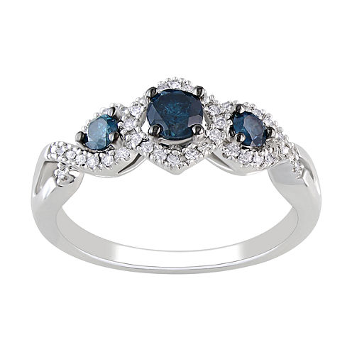 1/2 CT. T.W. White & Heat-Treated Blue Diamond 3-Stone Engagement Ring