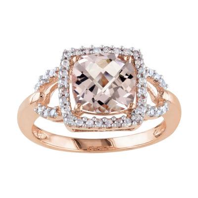 10K Rose Gold Morganite Diamond Ring