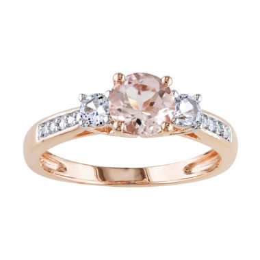 jcpenney.com | Genuine Morganite and Diamond-Accent 10K Rose Gold 3-Stone Ring
