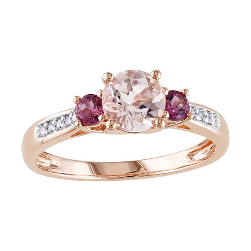 Genuine Morganite 10K Rose Gold 3-Stone Ring