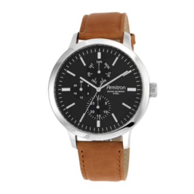 jcpenney.com | Armitron® All Sport® Mens Black Dial Brown Leather Strap Chronograph Watch