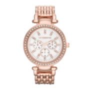 Liz Claiborne® Womens Rose-Tone & Crystal-Accent Oversized Watch