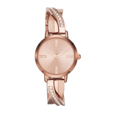 jcpenney.com | Liz Claiborne Womens Rose-Tone & Crystal-Accent Twisted Bangle Watch