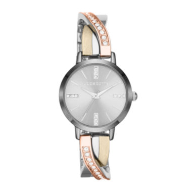 jcpenney.com | Liz Claiborne Womens Tri-Tone & Crystal-Accent Twisted Bangle Watch