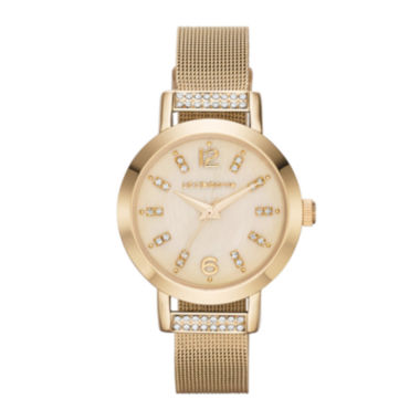 jcpenney.com | Liz Claiborne Womens Gold-Tone & Crystal-Accent Mesh Bracelet Watch