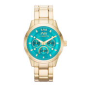 Liz Claiborne Womens Gold-Tone Boyfriend Multifunction Watch