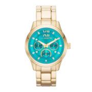 Liz Claiborne® Womens Gold-Tone Boyfriend Multifunction Watch