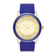 Liz Claiborne Womens Gold Dial Blue Silicone Strap Watch