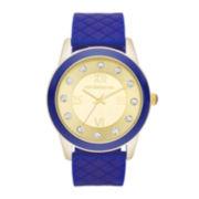 Liz Claiborne® Womens Gold Dial Blue Silicone Strap Watch