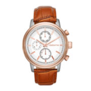 Claiborne® Mens Two-Tone Brown Leather Multifunction Watch
