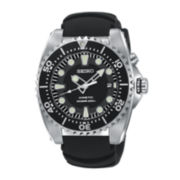 Seiko® Mens Kinetic Black Strap Watch