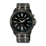 Seiko® Mens Two-Tone Black Dial Watch