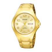 Pulsar® Mens Gold-Tone Champagne Dial Watch PXN152