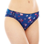 Ambrielle® Lace-Trim Cotton-Blend High-Cut Panties