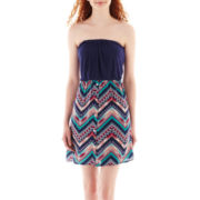Love Reigns Strapless Chevron Print Dress