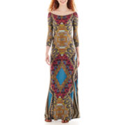 Fire 3/4-Sleeve Print Maxi Dress