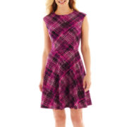 R&K Originals® Sleeveless Plaid Fit-and-Flare Dress - Petite