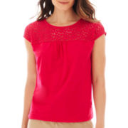 St. John's Bay® Short-Sleeve Lace Banded-Bottom Tee - Petite