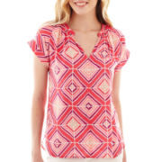 jcp™ Short-Sleeve Modern Peasant Top