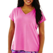 Liz Claiborne Short-Sleeve V-Neck Sleep Tee - Plus