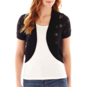 St. John's Bay® Short-Sleeve Crochet Shrug