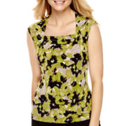Black Label by Evan-Picone Cap-Sleeve Floral Print Blouse