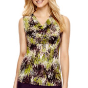 Black Label by Evan-Picone Sleeveless Print Cowl Neck Blouse