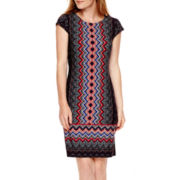 Liz Claiborne® Short-Sleeve Chevron Print Shift Dress