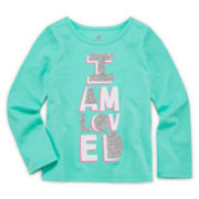 Okie Dokie® Graphic Glitter Tee - Toddler Girls 2t-5t