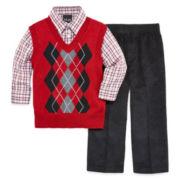 Argyle Sweater Vest 3-pc Set - Toddler Boys 2t-5t