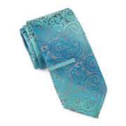 JF J. Ferrar® Ombré Paisley Tie with Color Tie Bar - Extra Long