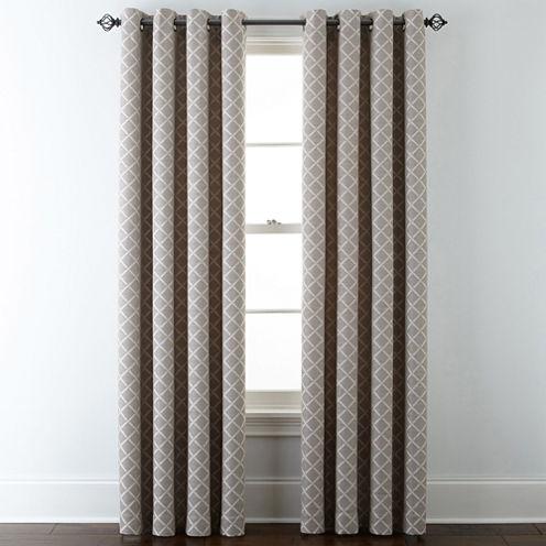 Jcpenney Home Quinn Lattice Grommet Top Curtain Panel