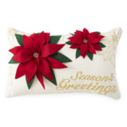 North Pole Trading Co. Season's Greetings Poinsettia Decorative Pillow