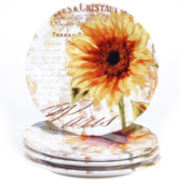 Certified International Paris Sunflower Set of 4 Dinner Plates