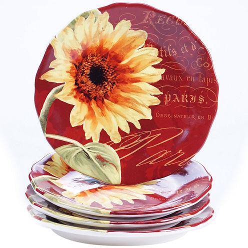 Certified International Paris Sunflower Set of 4 Salad Plates