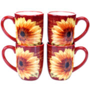 Certified International Paris Sunflower Set of 4 Mugs