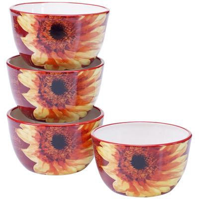 Certified International Paris Sunflower Set of 4 Ice Cream Bowls