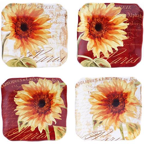 Certified International Paris Sunflower Set of 4 Canapé Plates