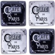 Certified International Paris Travel Set of 4 Canapé Plates