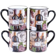Certified International Grand Vin Set of 4 Mugs