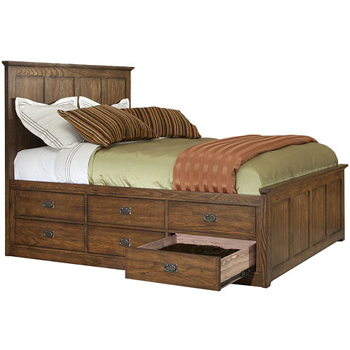 Oak Ridge 12-Drawer Storage Bed