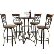 Glenside 5-pc. Pub Set with Swivel Barstools