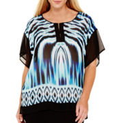 Bisou Bisou® Short-Sleeve Colorblock Tunic Top - Plus