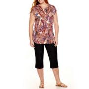 Liz Claiborne® Henley or Denim Cropped Pants - Plus