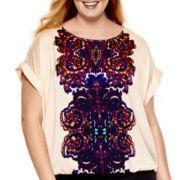 Liz Claiborne® Dolman-Sleeve Roll-Cuff Blouse - Plus