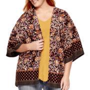 Liz Claiborne® 3/4-Sleeve Print Kimono - Plus